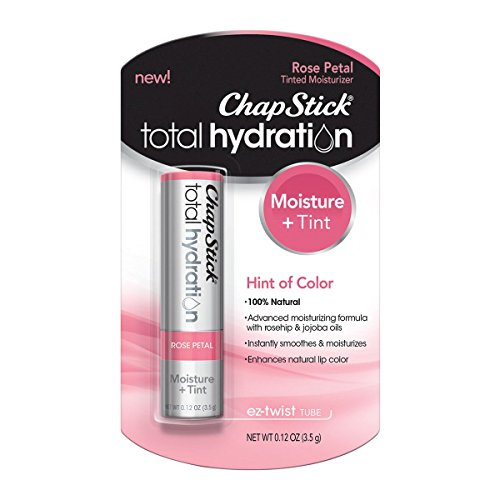 ChapStick Total Hydration (Rose Petal Tint, 1 Blister Pack of 1 Stick) Tinted Moisturizer, 100% Natural Lip Color and Lip Treatment, 0.12 Ounce - Lip Color Petal