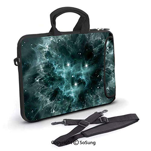 17 inch Laptop Case,Space Nebula in the Space with Crystal Star Cluster Galaxy Solar System Cosmos Print Neoprene Laptop Shoulder Bag Sleeve Case with Handle and Carrying & External Side Pocket,for Ne