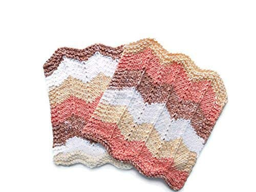 Knit Cotton Dishcloths, Set of Two, Sandstone Chevron Stripes