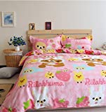 LELVA Pink Rilakkuma Bedding Sets, Kids Bedding Girls, Cotton Baby Bedding Set, Children's Duvet Cover Set (Fitted Sheet, Queen)