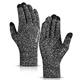 TRENDOUX Driving Gloves, Unisex Knit Winter Touchscreen Glove Men Women Texting Smartphone - Elastic Cuff - Thermal Wool Lining - Stretchy Material Black White - L