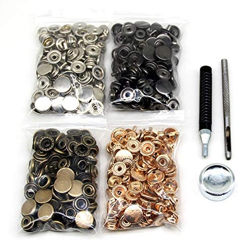 Jackets 655# Bracelets 10mm 4 Color Leather Snaps for Clothes Jeans Wears 120 Set Leather Snap Fasteners Kit Bags 10//12.5//15mm Metal Button Snaps Press Studs with 4 Setter Tools