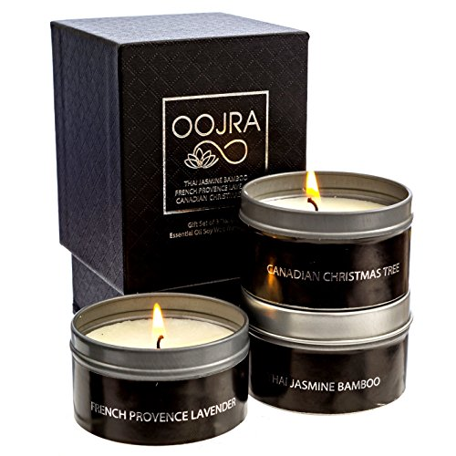 Oojra Essential Oil Scented Soy Wax Luxury Travel Candle Gift Set Of 3 With Gift Box   Thai Jasmine Bamboo  French Provence Lavender  Canadian Christmas Tree