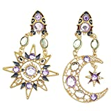 RechicGu Goddess Greek Mismatch Sun Moon Star Austria Crystal Dangle Earrings Wicca
