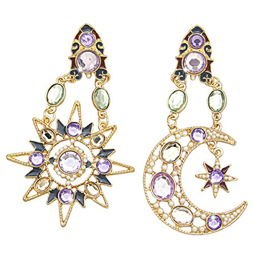 RechicGu Goddess Greek Mismatch Sun Moon Star Austria Crystal Dangle Earrings Wicca
