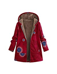 Amzeca Womens Winter Warm Outwear Floral Print Hooded Vintage Oversize Coats