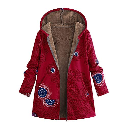 (Crop Top,Kulywon Womens Winter Warm Outwear Print Hooded Pockets Vintage Oversize Coats(S/US 4,Red))