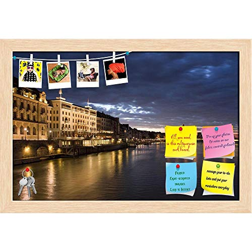 Artzfolio Old Basel, Swiss in Dusk Time Printed Bulletin Board Notice Pin Board Cum Natural Brown Framed Painting 17.7 X 12Inch