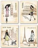 "Paris, London, Roma and New York Set by Andrea Laliberte 11""x14"" Art Print Poster"