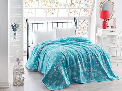 LaModaHome Luxury Soft Colored Bedroom Bedding 100% Cotton Double Coverlet (Pique) Thin Coverlet Summer/Bird Cage Animal Tree Plant Flower Nature Blue Background/Double by LaModaHome