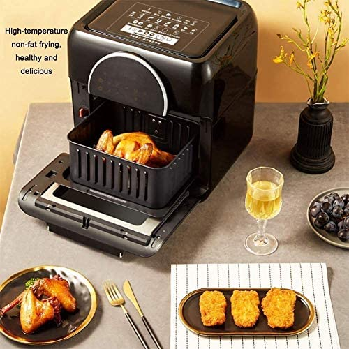 BBZZ Friteuse à air chaud électrique 10 l sans huile poêle chauffé cycle complet système cyclone 6 accessoires digital LED tactile pour la friture et le réchauffement