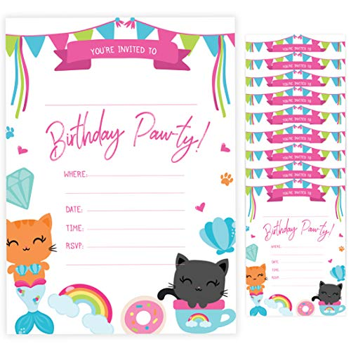 Cat Style 2 Kitten Kitty Happy Birthday Invitations Invite Cards (10 Count) With Envelopes Boys Girls Kids Party (10ct)