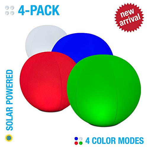 12'' Color-Changing Solar Christmas LED Ball by POP Design | 2-Pack | Inflatable, Floatable & Hangable Multi-Color Ornament Lights | Great for Christmas Lawn or Holiday Parties by POP Design