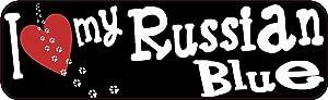 PotteLove 10in x 3in I Love My Russian Blue Bumper Sticker Pet Cat Truck Decals for Envelope Laptop Fridge Guitar Car Motorcycle Helmet Luggage Cases Decor