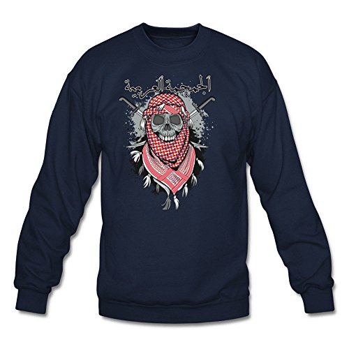 Men's Red Scarf Arabic Skull Classic Long Sleeve Hoodie XL Navy