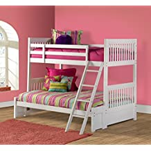 Hillsdale Lauren Twin over Full Bunk Bed in White - Without Trundle