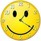 "Sugar Vine Art SMILEY FACE CLOCK Decorative Round Wall Clock Home Decor Wall Clock Large 10.5"" Novelty Clock"
