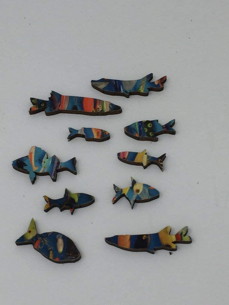 Mini Wooden Jigsaw Puzzle 51 Unique Wooden Pieces Made in USA by Nautilus Puzzles Fishing Lures