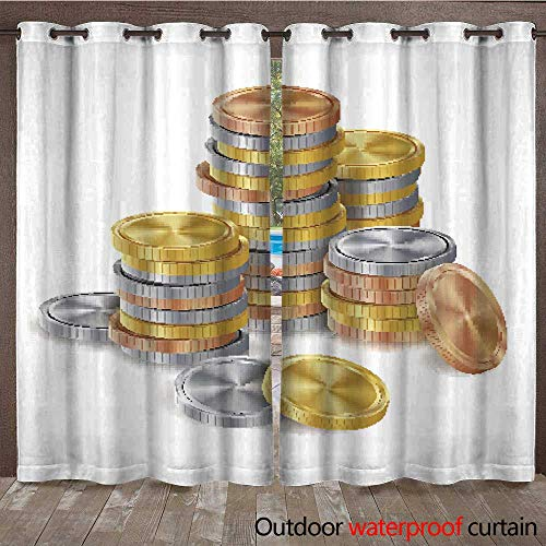 RenteriaDecor Home Patio Outdoor Curtain Gold Silver Bronze Copper Coins Stacks Vector Golden Finance Icons Sign Success Banking Cash Symbol Realistic Isolated I W84 x L108