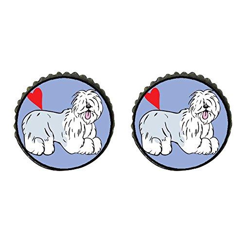Old English Sheepdog Earrings - GiftJewelryShop Bronze Retro Style Old English Sheepdog Animal Photo Stud Earrings 10mm Diameter