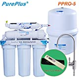 PurePlus Under Sink 5-Stage Reverse Osmosis Drinking Water Filter System With LG Original Membrance 80GPD & Full Sets Of 1 Year Using Filters & 1 TDS Meter Leakfree Easy Installation