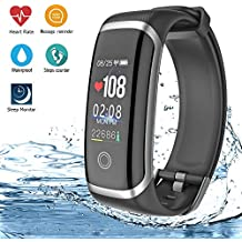 AIBODINI Fitness Tracker, Activity Tracker Heart Rate Blood Pressure Sleep Monitor Smart Bracelet with Pedometer Call SMS Reminder Bluetooth IP67 Waterproof for Adult Kids iOS Android Phone