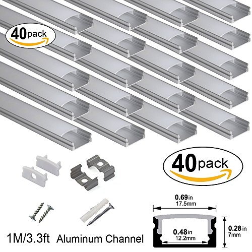 hunhun 40-Pack 3.3ft/1Meter U Shape LED Aluminum Channel System With milky Cover, End Caps and Mounting Clips, Aluminum Profile for LED Strip Light Installations, Very Easy Installation by hunhun