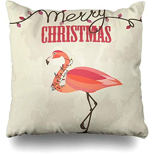 Throw Pillow Cover Pillows Cases White Pink Flamingo Merry Christmas Holidays Tropical Pattern Santa Bird Garland Design Hat Home Decor Design Square 18 x 18 Inch Zippered Cushion Case
