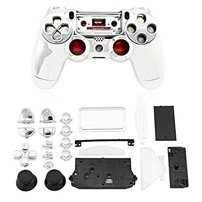 Super Custom Replacement Wireless Game Controller Shell Case Cover Kit for Sony PS4 - Includes Button Set, Silver Plating by Super Target 1