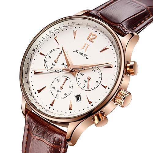 JIN DI Long JJ Mens Luxury Wrist Watch with Leather Band, Chronograph Waterproof Watches with Japanese Quartz Movement Best Gift for Men/Dad (Japanese Watch Movement Quartz)