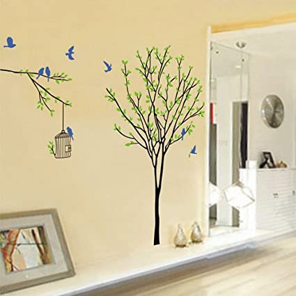 Amazon.com: ORDERIN Christmas Gift Wall Decal Green Leaves Tree ...