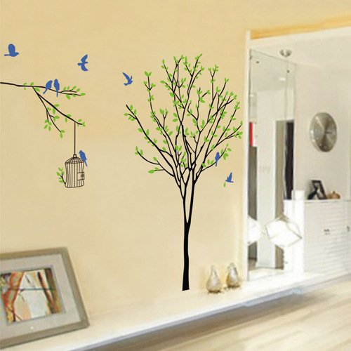 Amazoncom ORDERIN Christmas Gift Wall Decal Green Leaves Tree - Wall decals leaves