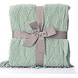 "Battilo Knit Diamond Pattern Decorative Throw Blanket, 50"" W by 60"" L, Light Blue"