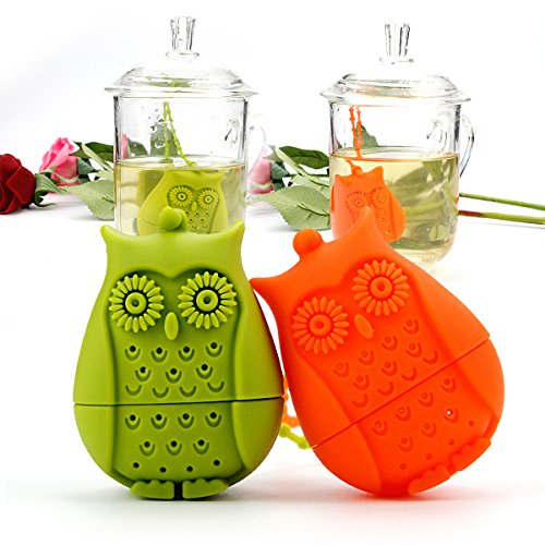 2pcs Silicone Mini Owl Tea Bag,Ezeso Reusable Tea Filter Infuser Strainer for Coffee Herb Punch (Orange + Green) Silicone Tea Infuser