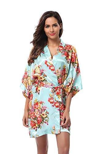 Women's Short Floral Wedding Kimono Robe, Satin Floral Bathrobe, Aqua XL