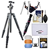 Vanguard VEO 2 235CB 57'' Carbon Fiber Tripod with BH-50 Ball Head & Case with Stone Bag + Flash Diffusers + Cleaning Kit