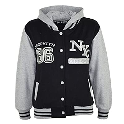 Kids Girls Boys Baseball NYC ATHLETIC Hooded Jacket Varsity Hoodie Age 7-13 Year