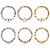 Captive Bead Clicker Ring 16G 5/16 Inch Seamless Clicker Ring Septum Clicker Cartilage Helix Daith Hoop Nose Ring Hinged Silver Gold Rose Gold 6Pcs