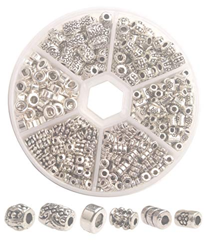 ChangJin One Box of 340PCS Antiqued Silver Metal Tube Spacer Beads for Jewelry - Beads Silver Spacer Tube
