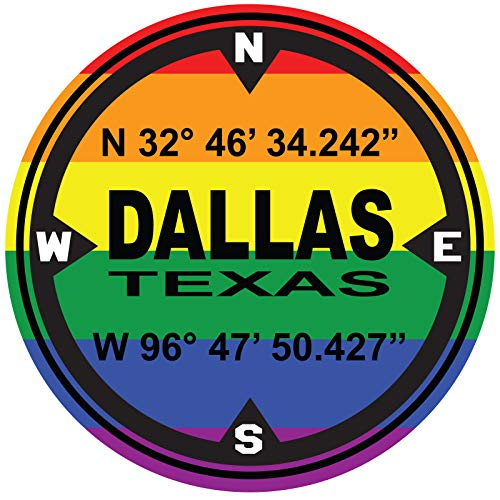 LGBT Pride D.M.S. Coordinates Gay Pride Dallas Texas - 4 Inch Full Color Decal for Macbooks or Laptops - Proudly Made in The USA from Adhesive Vinyl -