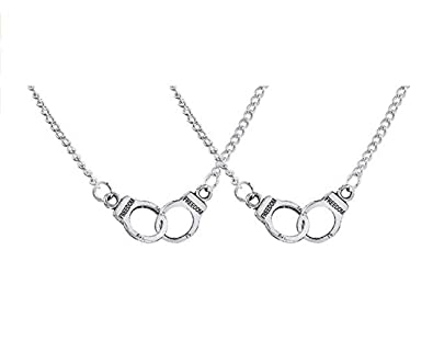 Amazon mjartoria partners in crime theme freedom engraved mjartoria partners in crime theme freedom engraved handcuffs pendant bff friendship necklace set of 2 aloadofball Image collections