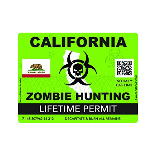 Zombie California State Hunting Permit Sticker Self Adhesive Vinyl Decal CA