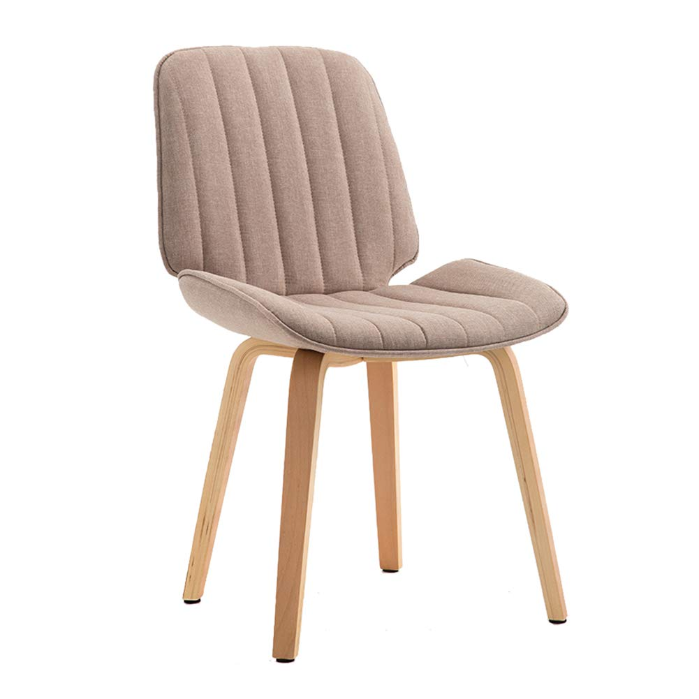 Cotton linen beige Upholstered Dining Chairs,Modern Backrest Leisure Chair with Solid Beech Wood Legs, Ergonomic Design,for Dining Room Living Room Kitchen Cafe Office