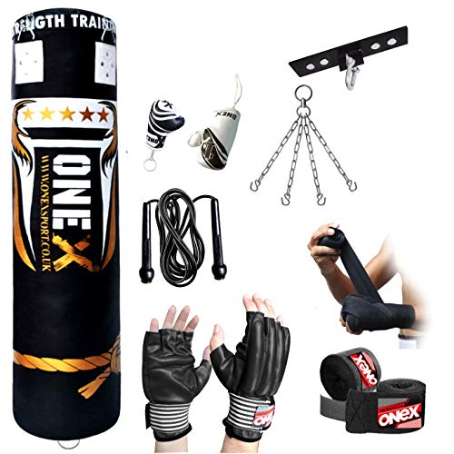 4ft Heavy Filled Boxing Punch Bag with Fingerless Gloves Skipping Rope Hand Wraps & Ceiling Hook Included Chain. BEST Punching Fitness Equipment Waterproof Bags for Indoor or Outdoor Training kit