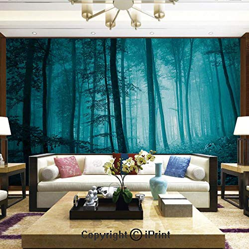 Mural Wall Art Photo Decor Wall Mural for Living Room or Bedroom,Magic Foggy Dark Forest Foliage Landscape Countryside Monochromic Artwork,Home Decor - 66x96 inches ()