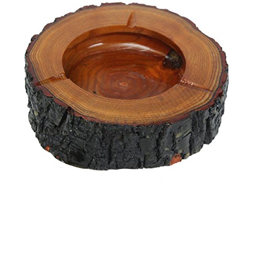 Northbear-Brown-Wood-Round-Ashtray-Smoke-Cigarette-Ash-Holder-Nice-Table-Decor