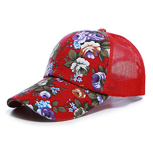 (Glad You Came Sunscreen Rose Floral Print Baseball Cap for Women Men Sport Mesh Caps Breathable Casual Golf Hats Snapback Hat,Red Mesh)