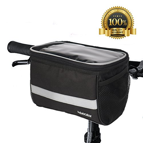 Advocator Bicycle Front Bags, Bike Handlebar Bag with Sliver Grey Reflective Stripe Outdoor Activity Cycling Basket Frame Pack Accessories Touchscreen Operation Transparent PVC Pouch (black)