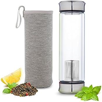 Hot or Cold Glass Tea Tumbler Infuser Bottle – Tea Travel Mug with Flavor Dispenser - Loose Leaf Tea Cup with Strainer Filter 400ml - Insulating Sleeve - Grey