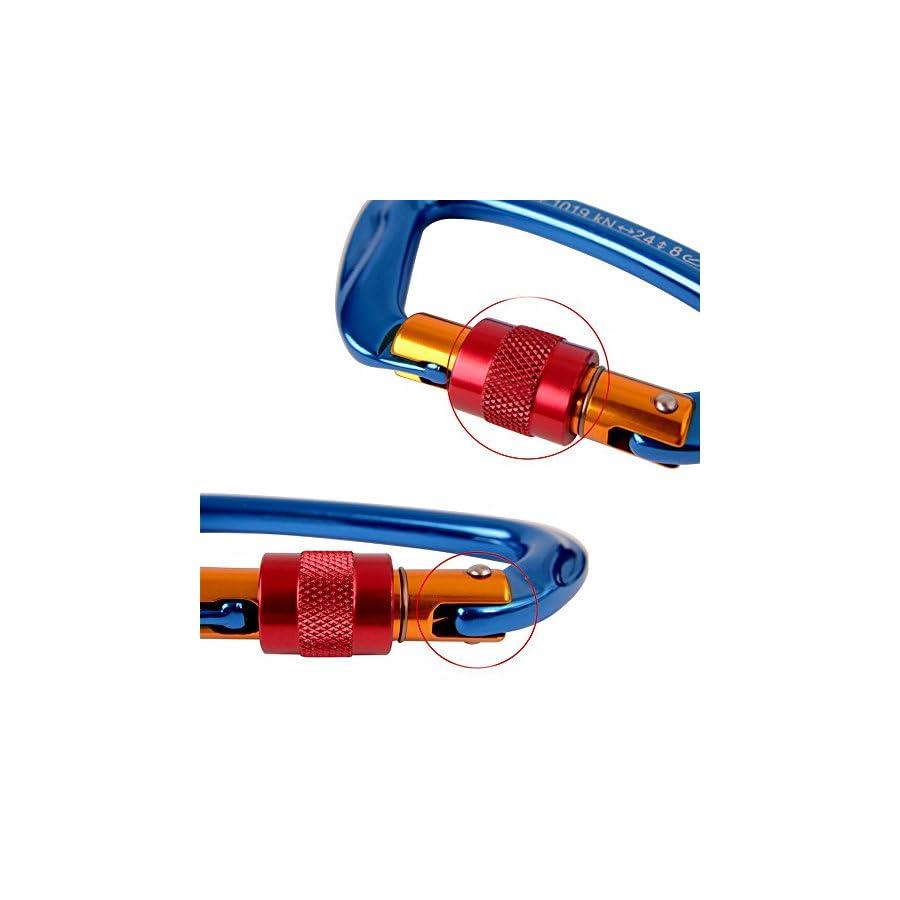 AYAMAYA Climbing Carabiner 30kn Screwgate Caribeaner 3 Pack, Ultra Tech High Strength Aluminum Screwgate Caribiner Screw Lock D Ring Chain Clip Hook Outdoor Buckle for Rope Tree Climbing